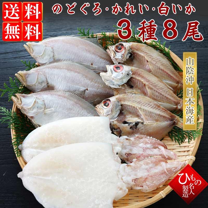 山陰沖 日本海産 名人の干物特選3種8尾