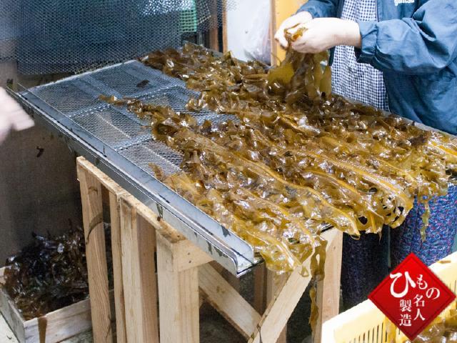 水洗いのあと、丁寧に並べられた生わかめ。あとは 乾燥させれば、板ワカメになります。