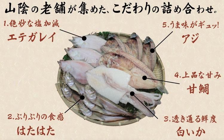エテガレイ、甘鯛、ハタハタ、アジ、白イカの詰め合わせ