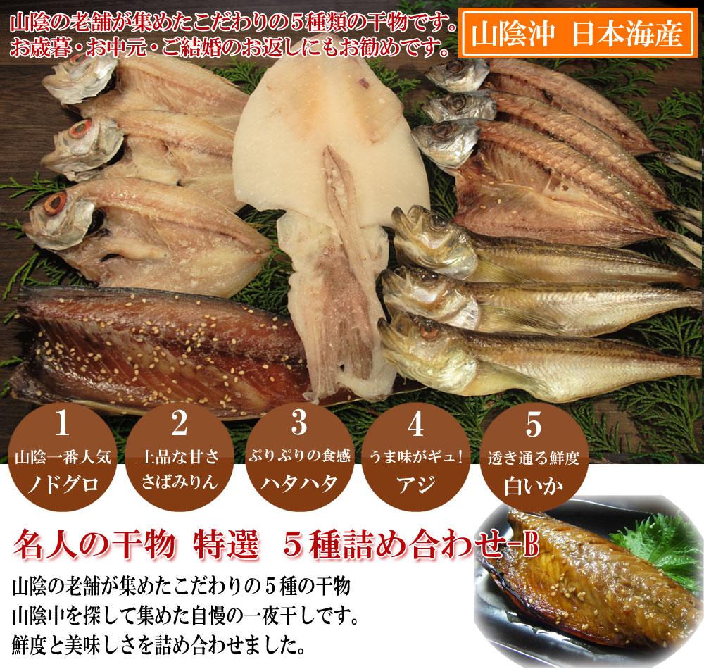日本海産名人の干物特選5種詰め合わせ山陰の老舗が集めたこだわりの5種類の干物です。