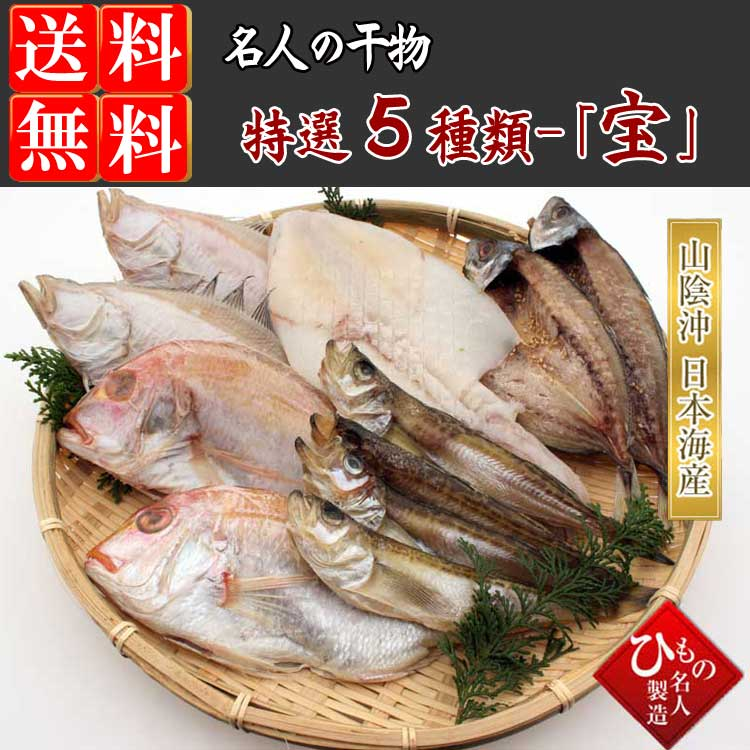 山陰沖 日本海産 名人の干物特選5種類(連子鯛入り)