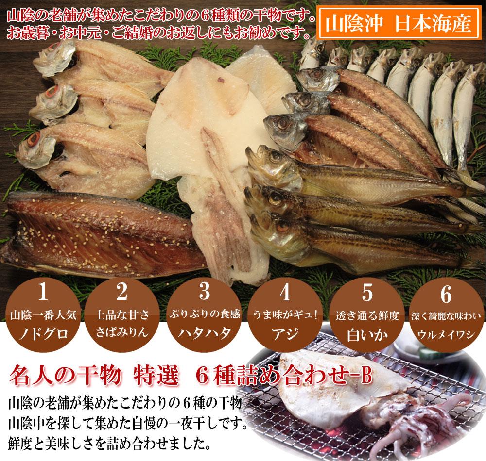日本海産名人の干物特選6種詰め合わせ山陰の老舗が集めたこだわりの6種類の干物です。