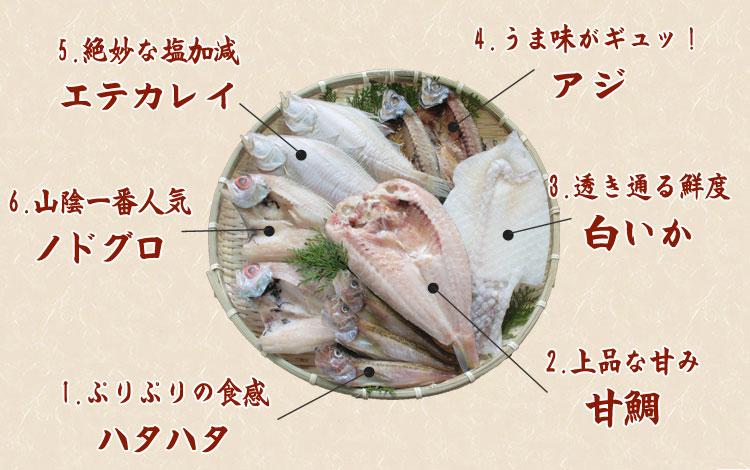 ノドグロ、エテガレイ、甘鯛、ハタハタ、アジ、白イカの詰め合わせ