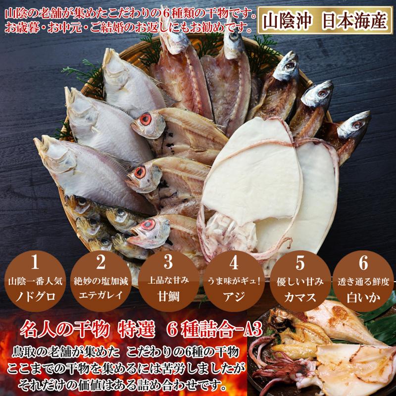 山陰沖 日本海産 名人の干物6種詰合-A3